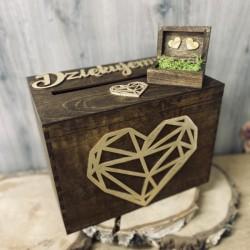Zestaw pudełko na koperty i obrączki- brąz i złoto