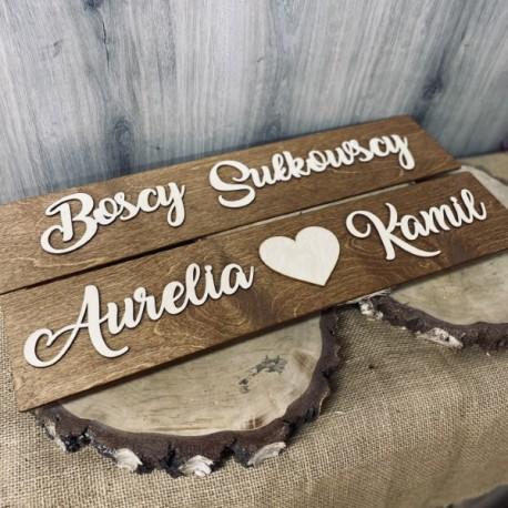 Drewniane ślubne tablice rejestracyjne olejowane