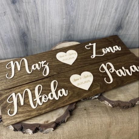 Drewniane ślubne tablice rejestracyjne- olejowane