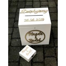 Zestaw weselny duża skrzynia + pudełeczko na obrączki białe