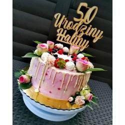 Topper drewniany ''50 urodziny Haliny''