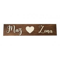 Drewniane ślubne tablice rejestracyjne brązowe