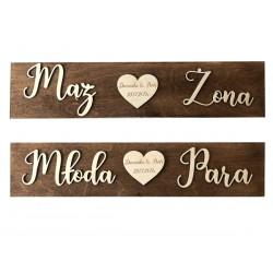Drewniane ślubne tablice rejestracyjne brązowe z grawerem 2sz.