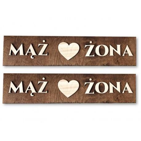 Drewniane ślubne tablice rejestracyjne ze sklejki MĄŻ ŻONA