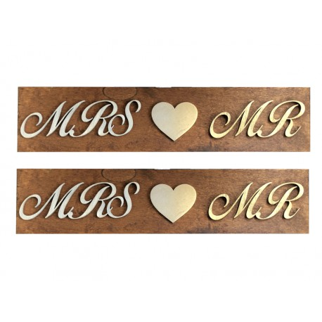 Drewniane ślubne tablice rejestracyjne ze sklejki MRS&MR