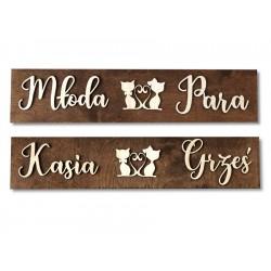 Drewniane ślubne tablice rejestracyjne ze sklejki Kotki